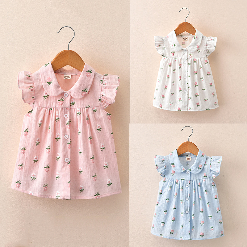 Kids Clothing Girls Tops Floral Style Children Little Cute Blouse Cotton Shirts