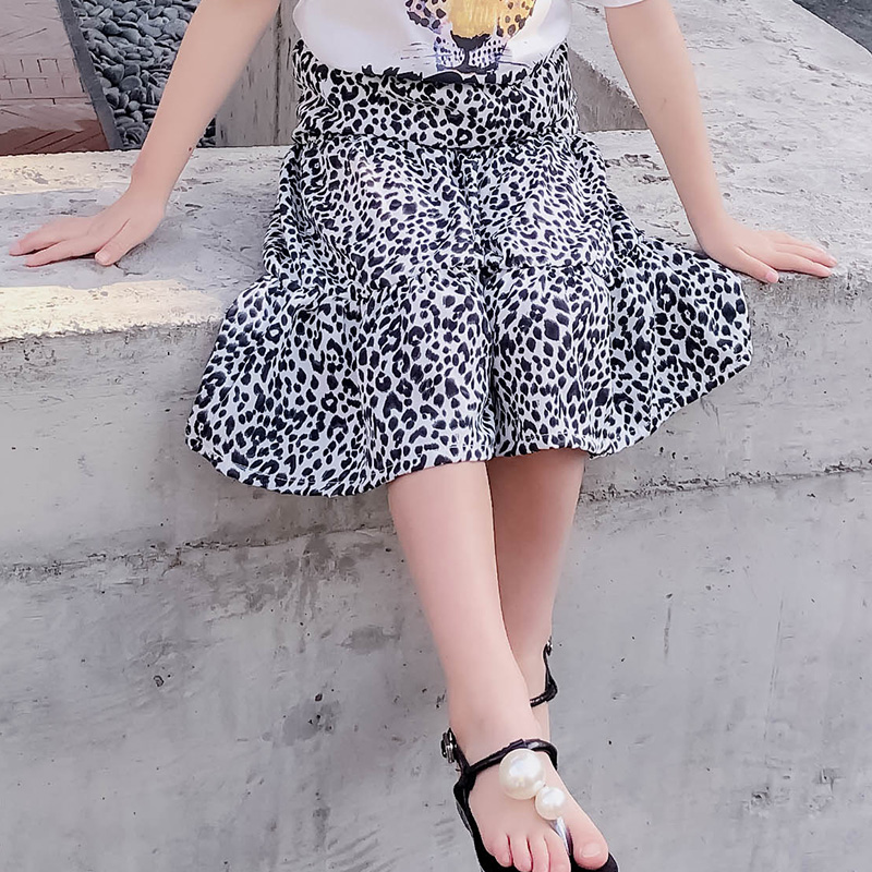 Kids Clothing Girls Bottoms Chiffon Skirts Leopard Print Style Children's Outfit