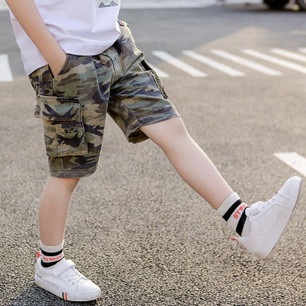 Kids Clothing Boys Bottoms Male Children\'s Camouflage Shorts Knee Length Outwear
