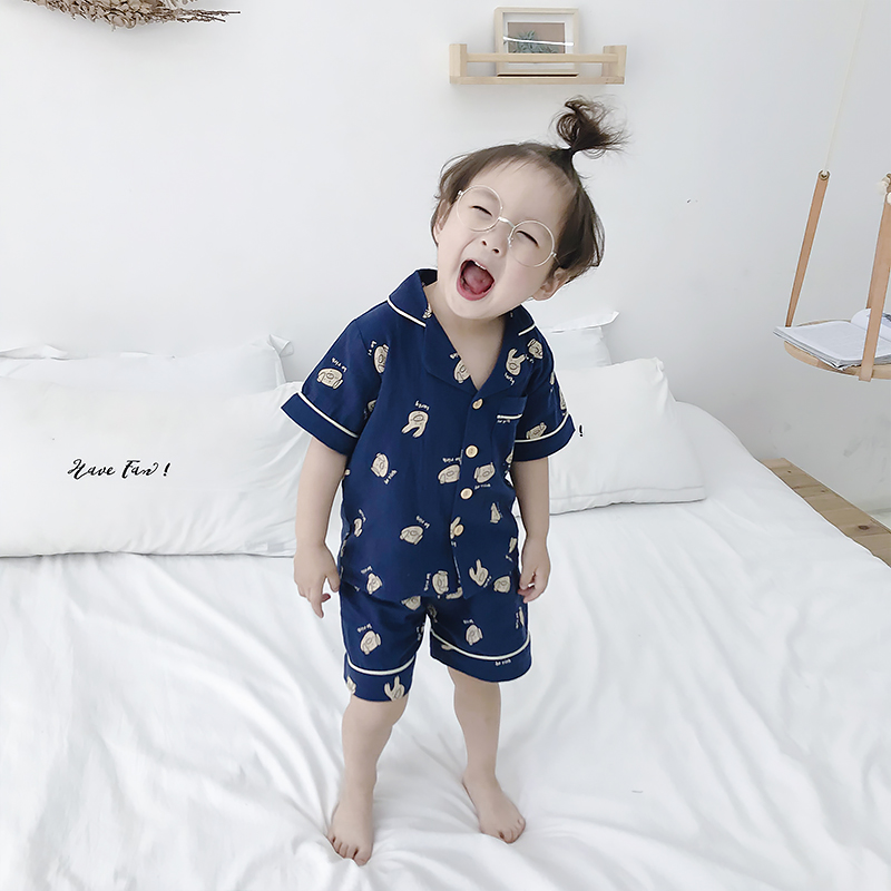 Kids Clothing Boys Sleepwear Male Cotton Silk Night Set Blouse Short Night Wear