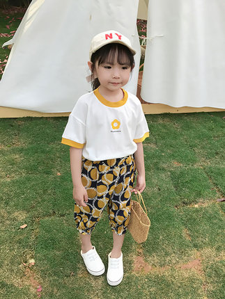 Kids Clothing Girls Tops Round Neck Soft Cotton Short Sleeve Floral Design Shirt