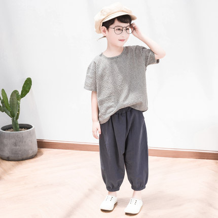Kids Clothing Boys Sets Cotton Pants and Short Sleeved T- Shirts Casual Outwear