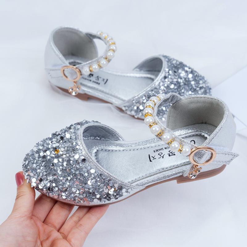 Kids Shoes Girls Princess Glitter Pearl Doll Flats Sandals Casual Soft Bottom