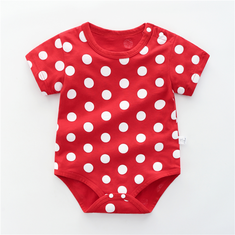 Baby Clothing Dress Polka dots Soft Cotton Short Sleeved Newborn Rompers