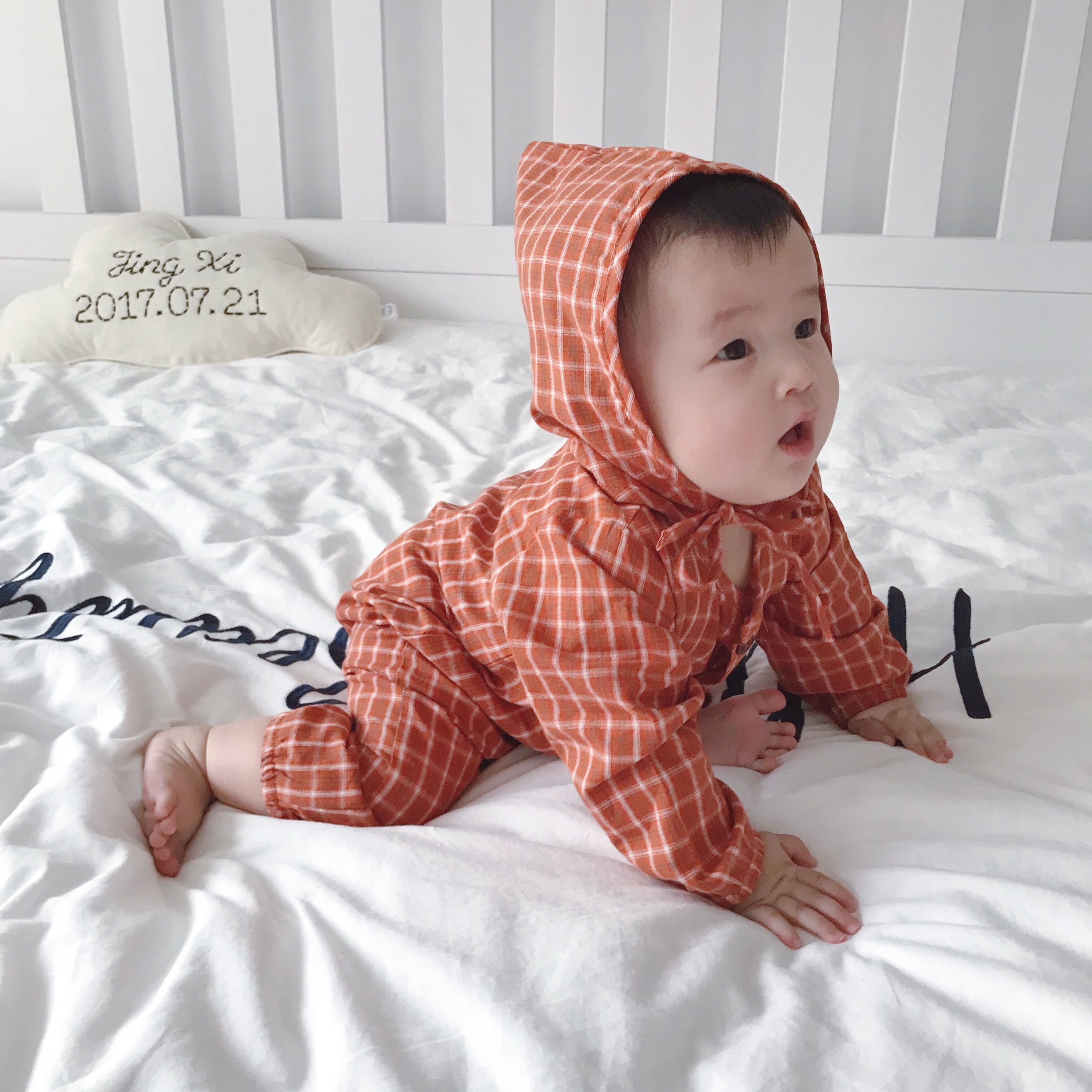 Baby Clothing Winter Wear Checkered Romper Newborn Long Sleeve Cotton Jumpsuit