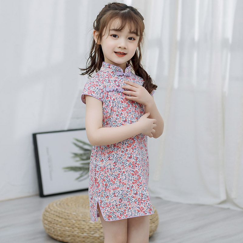 Kids Clothing Girls Dress Fashionable Chinese Style Casual Floral Summer Outfit