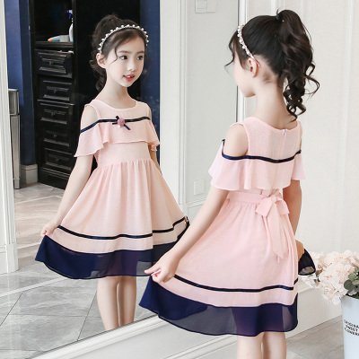 Kids Clothing Girls Dress Casual Summer Off Shoulder Style Summer Outwear
