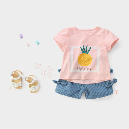 Kids Clothing Girls Tops Soft Cotton Short Sleeved Summer Spring Printed Shirts