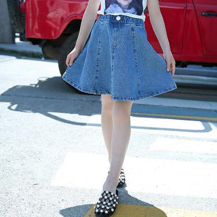 Kids Clothing Girls Bottoms Denim Summer Casual Children\'s Skirts Outfits
