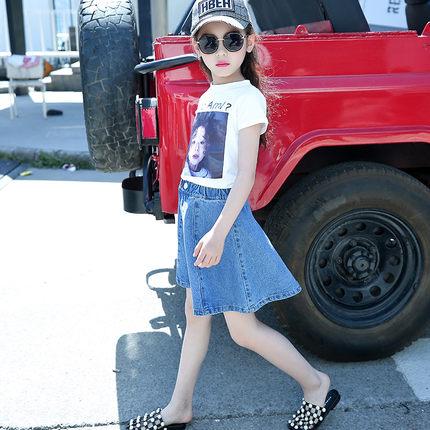Kids Clothing Girls Bottoms Denim Summer Casual Children's Skirts Outfits