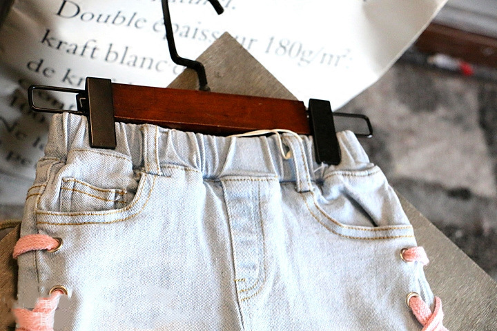 Kids Clothing Girls Bottoms Denim Tattered Children's Summer Shorts With Tie