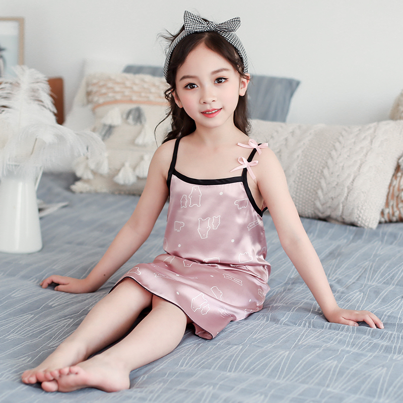 Kids Clothing Girls Sleepwear Cotton Silk Night Children Dress Wear