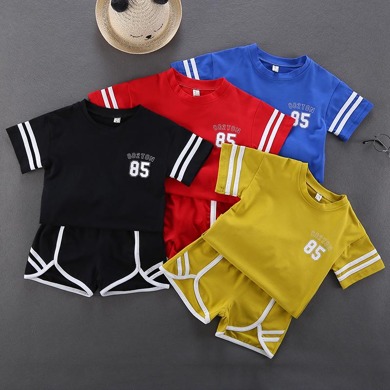 Kids Clothing Boys Set Sports Summer Shorts Cotton Short Sleeved T- Shirts Wear