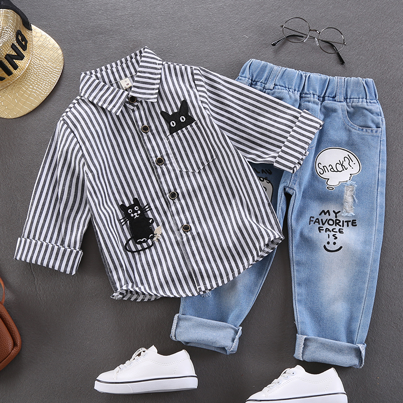 Kids Clothing Boys Tops Long Sleeved Polo Shirts Stripes Cotton Casual Male Wear