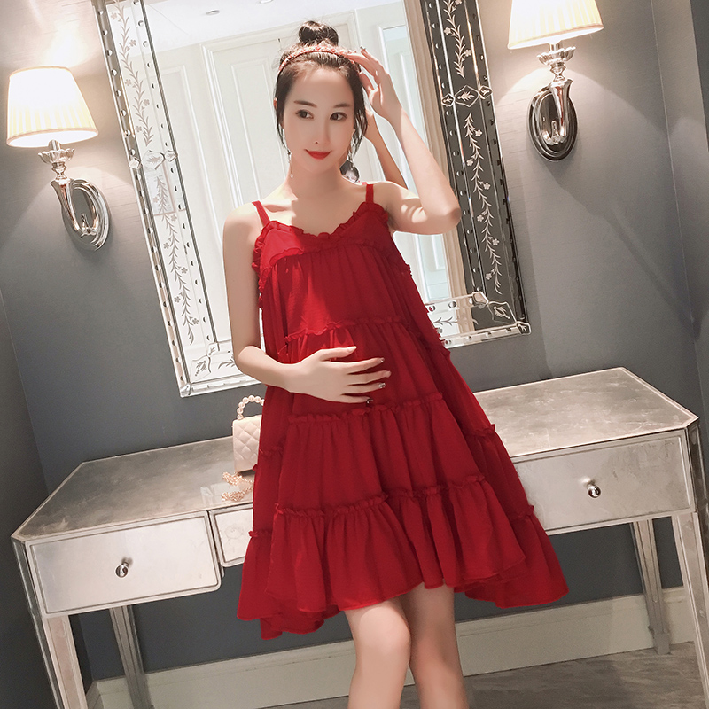 Maternity Clothing Dress Pregnant Women Outwear Soft Cotton Casual Summer Wear