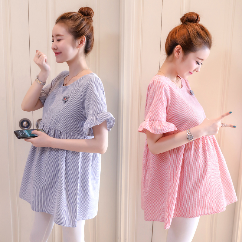 Maternity Clothing Tops Summer Spring Cotton Doll Blouse Pregnancy Loose Outfits