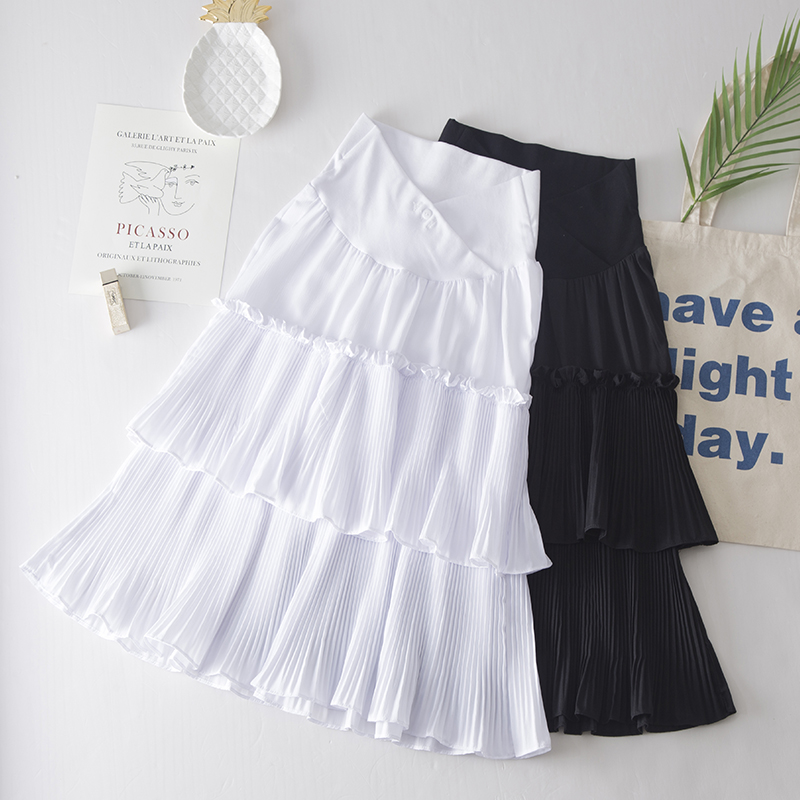 Maternity Clothing Skirts Long Ruffled Stomach Lift  Pregnancy Fashion Wear