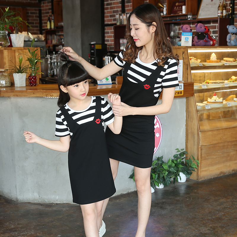 Parent Child Clothing New Cotton Summer Mom Daughter Outwear Casual Dress