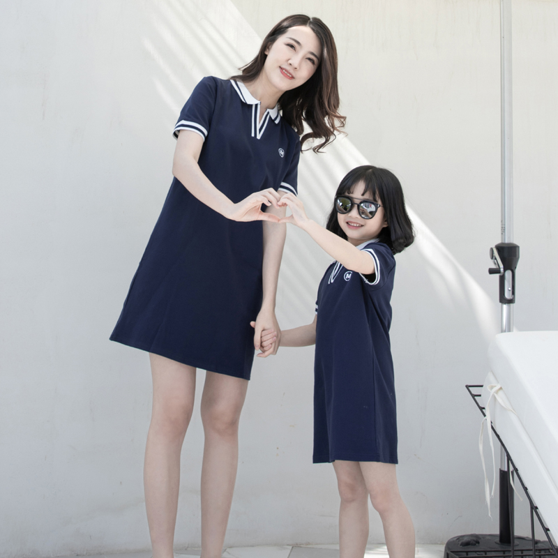 Parent Child Clothing Summer Family of Three Stripes Polo Shirt Dress Casual