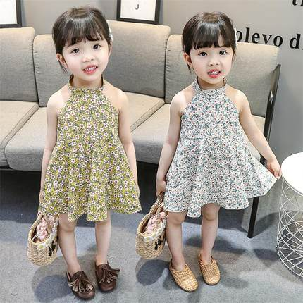 Kids Clothing Dress Girls Floral Sleeveless Summer Spring Children's Outwear