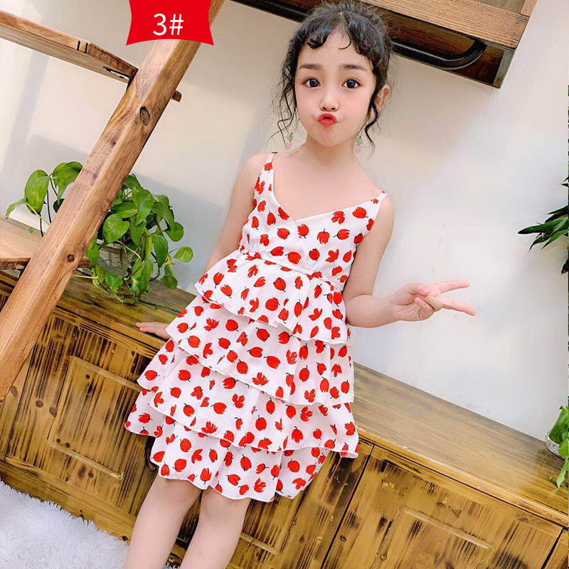 Kids Clothing Dress Girls Floral Summer Prints Sleeveless Female Children's Outfits