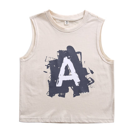 Kids Clothing Boys Tops T- Shirts Summer Printed Sleeveless Children Cotton Wear
