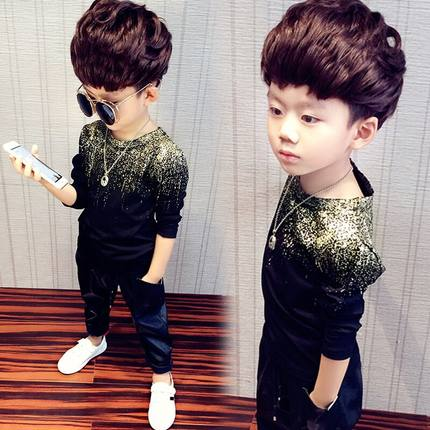 Kids Clothing Boys Tops Long Sleeved Glitter Accent Children\'s Fashion Outfits