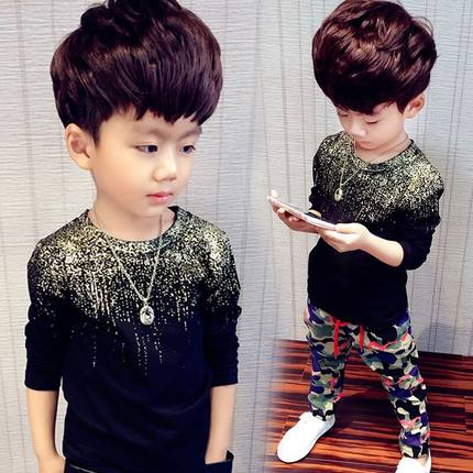 Kids Clothing Boys Tops Long Sleeved Glitter Accent Children's Fashion Outfits