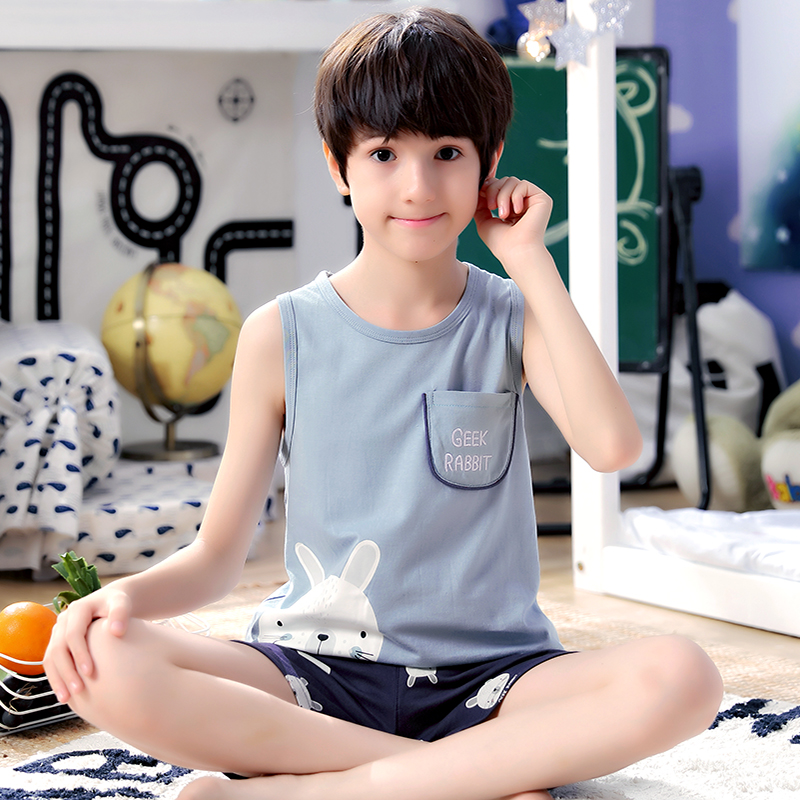 Kids Clothing Boys Sleepweear Children's Cotton Sleeveless Shirt Shorts Wear