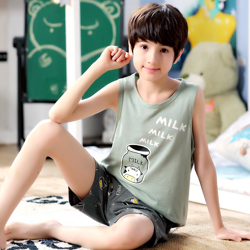 Kids Clothing Boys Sleepweear Children\'s Cotton Sleeveless Shirt Shorts Wear