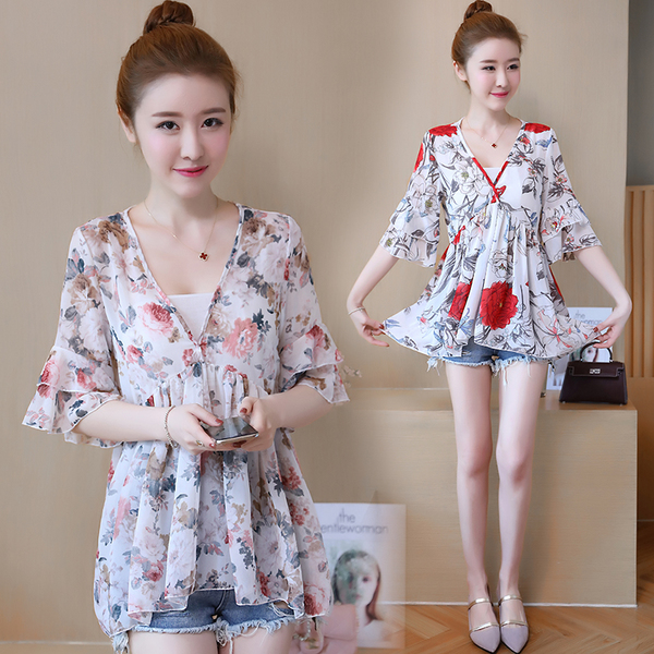 Maternity Clothing Tops Pregnant Blouse Floral Print Loose Chiffon Summer Wear