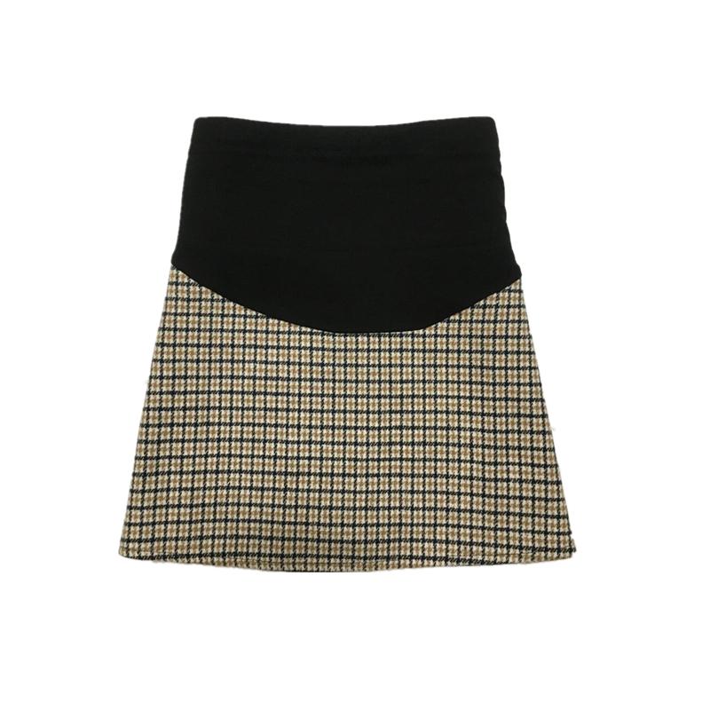 Maternity Clothing Women Slim Short Plaid Skirt for Pregnant
