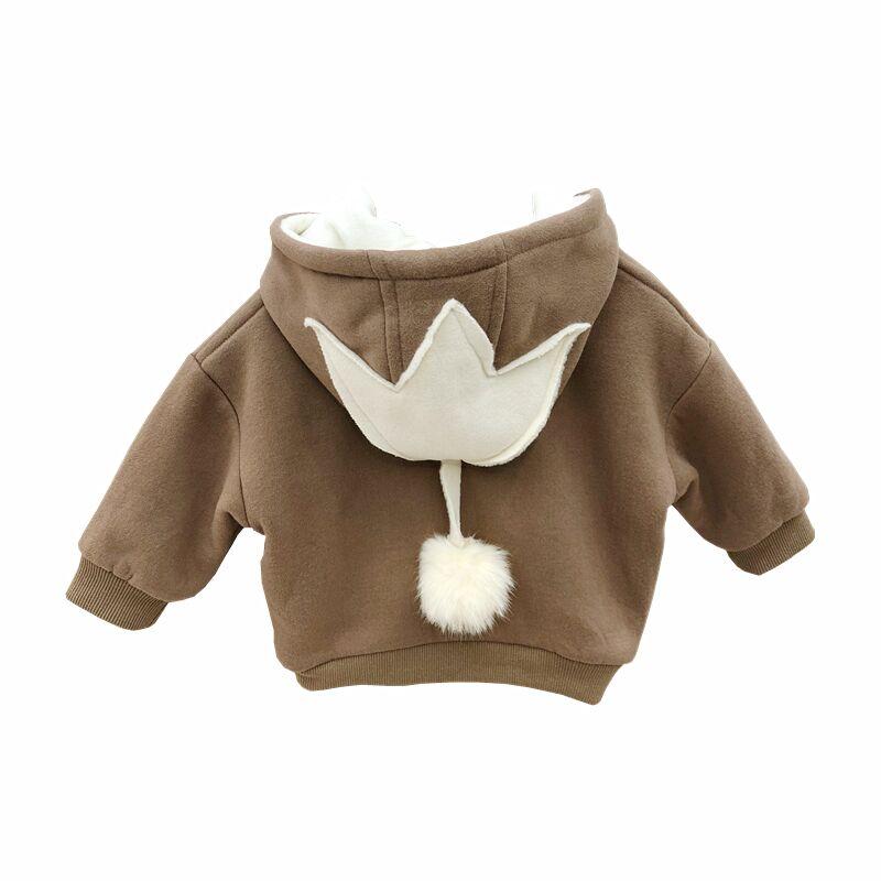 Kids Clothing Plus Velvet Thick Hooded Jacket