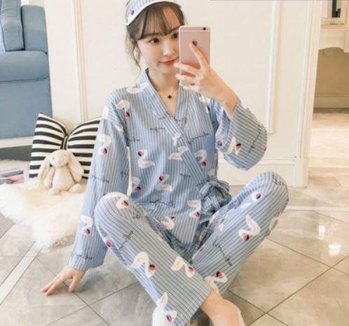 Maternity Clothing Swan Kimono Printed Long Sleeve Top and Pajamas