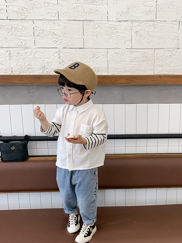 Kids Clothing Casual Fashion Long-sleeved Striped Shirt