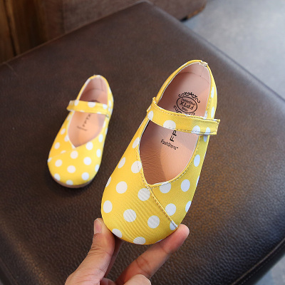 Kids Small Leather Polka Dots Flat Shoes