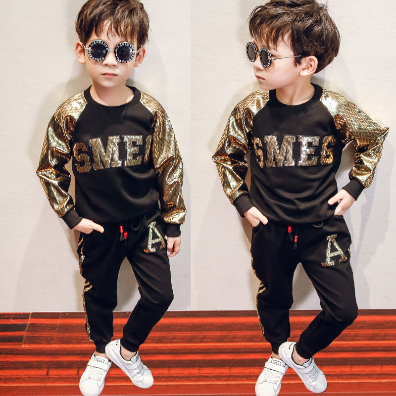 Kids Clothing Metallic Gold Long Sleeve Shirt and Pants