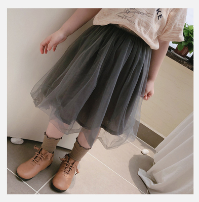 Kids Clothing Girl Comfortable Solid Color Mesh Skirt