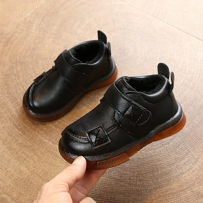 Kids Casual Round Head Flat Heel Leather Shoes