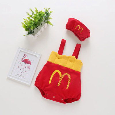 Baby Clothing Little Mcdonalds Costume with Cap Jumpsuit