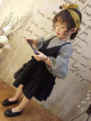 Kids Clothing Girl Plaid Long-sleeved Black Dress
