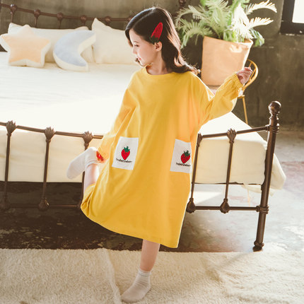 Kids Clothing Girl Strawberry Pocket Comfortable Nightdress