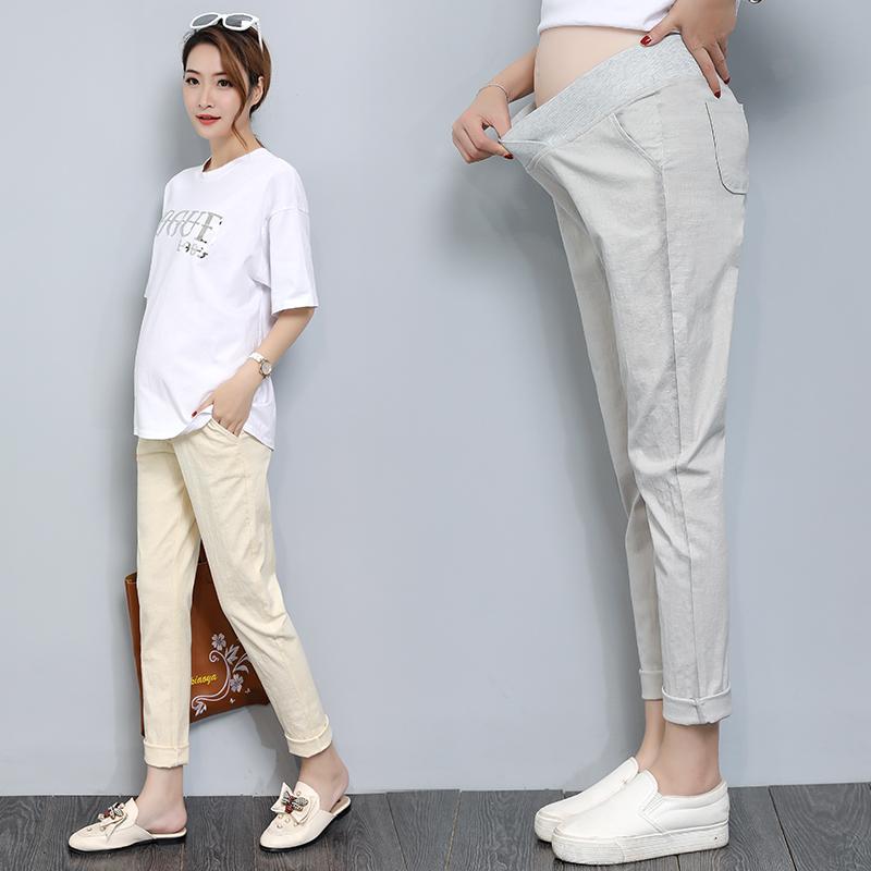 7ea79f7df Women Cotton Linen Low Waist Pregnancy Long Maternity Pants