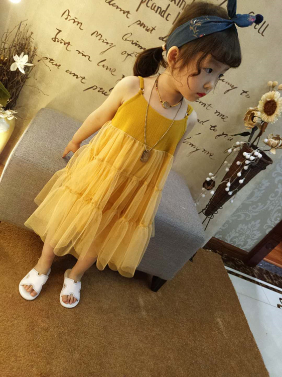 Kids Clothing Girl Sleeveless Baby Lady Suspender Mesh Skirt Dress
