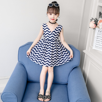 Kids Clothing Girl Summer Sleeveless Striped Dress