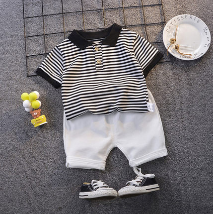Kids Clothing Boy Short-sleeved Striped Polo Shirt + Shorts Two Piece Set