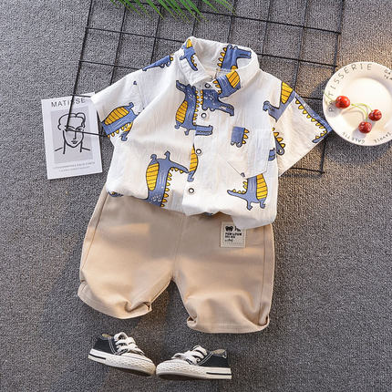 Kids Clothing Boy Short-sleeved Dinosaurs Print Polo Shirt + Shorts Two Piece Set