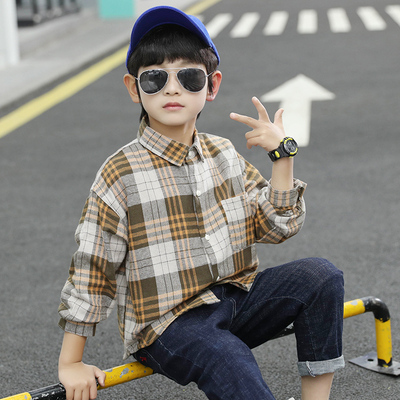 Kids Clothing Boy Plaid Long-sleeved Handsome Shirt