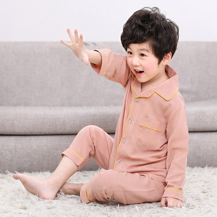 Kids Clothing Boy Long-sleeved Shirt and Pants Pajama Set
