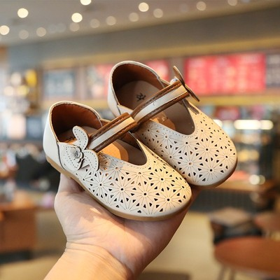 Kids Summer Princess Hollow Floral Leather Shoes